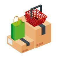 borsa con cestino della spesa e confezione scatola