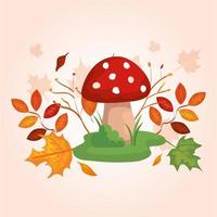 fungo con rami e foglie d'autunno