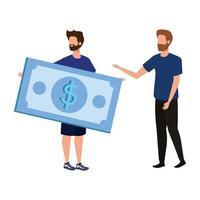 giovani uomini con caratteri di banconote