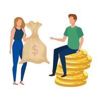 giovane coppia con monete e sacco di soldi