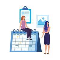 giovani donne con caratteri del calendario
