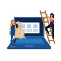 giovani donne con desktop e soldi