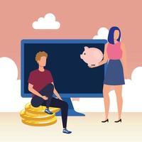 coppia con desktop e monete