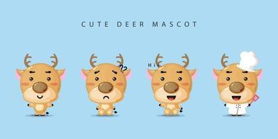 simpatico set di design mascotte cervo vettore