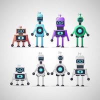collezione di personaggi robot dal design carino vettore