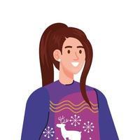 giovane donna che indossa il carattere cappotto invernale viola