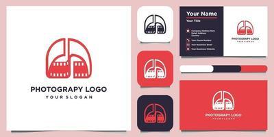 modelli di design del logo fotografico combinano lettera d e biglietto da visita