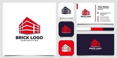 modelli di logo di mattoni e biglietti da visita