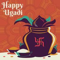 Pentola felice dell'oro di Ugadi con l'illustrazione della noce di cocco
