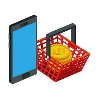 dispositivo smartphone con cestino della spesa e pile di monete