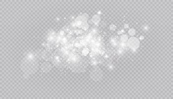 effetto luce incandescente con molte particelle glitter isolate