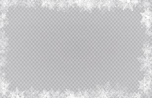 bordo cornice rettangolare neve invernale con stelle, scintillii e fiocchi di neve vettore