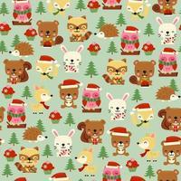 Fondo senza cuciture delle creature del bosco di Natale vettore