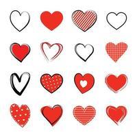 set di simboli del cuore rosso. amore icona disegnata a mano isolati su sfondo bianco. vettore