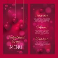 design elegante del menu di San Valentino