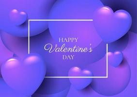 sfondo di San Valentino con cuori viola vettore