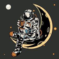 astronauta seduto sulla luna mentre tiene una tazza di caffè t-shirt e abbigliamento dal design alla moda con una tipografia semplice, ottimo per la grafica di t-shirt, poster, stampa e altri usi. illustrazione vettoriale