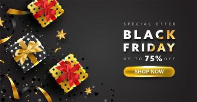 disegno di sfondo venerdì nero. offerta speciale banner per lo shopping online.