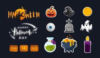 collezione di icone di halloween in design piatto. disegno dell'icona carino. illustrazione vettoriale.