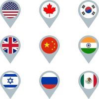 set di indicatori di mappa con bandiere vettore