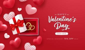felice giorno di San Valentino sfondo o banner con elementi adorabili