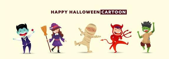 felice giorno di halloween con una collezione di simpatici personaggi dei mostri. vettore