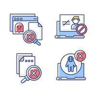 set di icone di colore rgb errori del sito Web