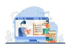 e il concetto di apprendimento. uomo che insegna sullo schermo con un libro, uomo che guarda lezione online. istruzione in linea, istruzione domestica, libri in linea, istruzione a distanza e scuola di affari in linea