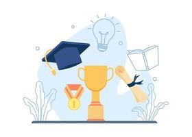 trofeo, cappello di laurea e design del rotolo di laurea