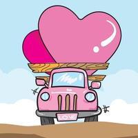 furgone con cuori per immagine vettoriale di San Valentino