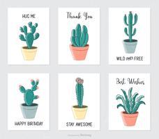 Cactus e succulente disegnati a mano in vasi da fiori vettore