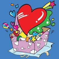 l'immagine di vettore di stile cartone animato scatola regalo e cuore