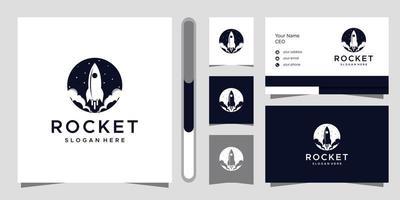 design del logo del razzo e biglietto da visita vettore