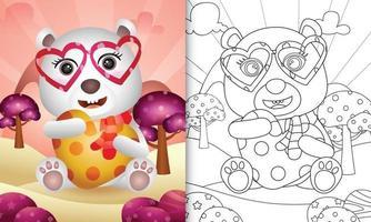 libro da colorare per bambini con un simpatico orso polare che abbraccia il cuore per San Valentino vettore