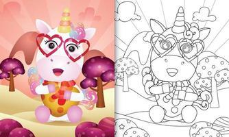 libro da colorare per bambini con un simpatico unicorno che abbraccia il cuore per San Valentino vettore