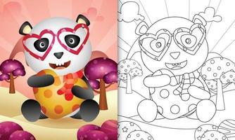 libro da colorare per bambini con un simpatico panda che abbraccia il cuore per San Valentino vettore