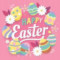 simpatico uovo di Pasqua dipinto colorato vettore