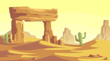 Portone di pietra nel vettore del paesaggio del deserto