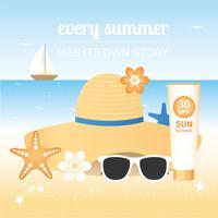 Elementi di viaggio di vacanze estive di vettore
