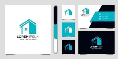 design del logo immobiliare e biglietto da visita vettore