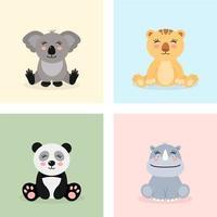 seduto personaggi animali della giungla bambino vettore