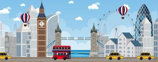scena della città di Londra con molti punti di riferimento vettore