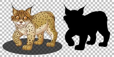 personaggio dei cartoni animati di lince con la sua silhouette vettore
