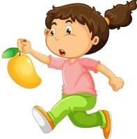 un ragazzo che tiene il personaggio dei cartoni animati di mango frutta isolato su sfondo bianco vettore