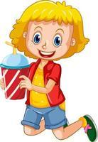 una ragazza carina che tiene il personaggio dei cartoni animati della tazza della bevanda isolata su fondo bianco vettore