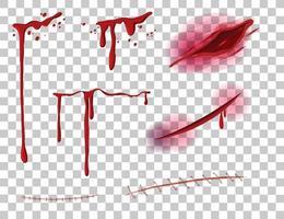 rosso sangue gocciolante con molte ferite diverse su sfondo trasparente vettore