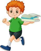un ragazzo felice che tiene il personaggio dei cartoni animati del libro su priorità bassa bianca vettore