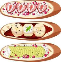 set di vista dall'alto di pane con frutta isolata vettore