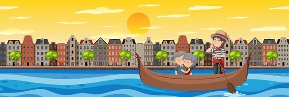 coppia di pensionati durante il giro in barca vettore