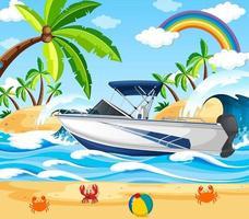 scena della spiaggia con un motoscafo vettore